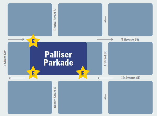 Palliser Parkade Entrance Map